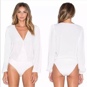 Lovers + Friends Vision White Long Sleeve Bodysuit